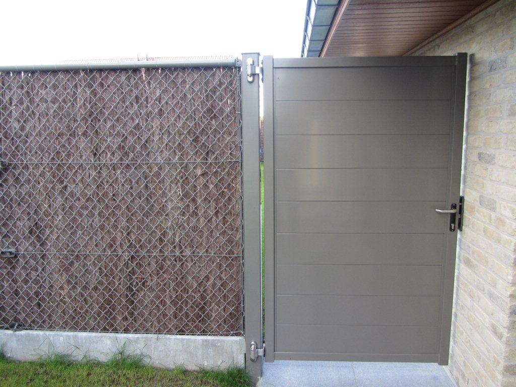 Alzebra Blind draaipoort met horizontale lamellen 200 mm grijs